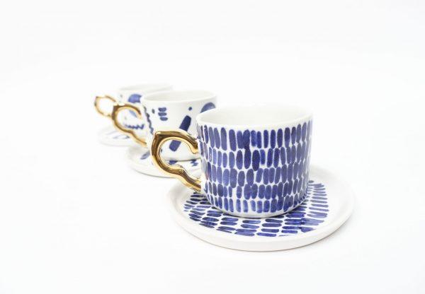 Filiżanka espresso w kobaltowe wzory i ze złotym uszkiem, 100% handmade