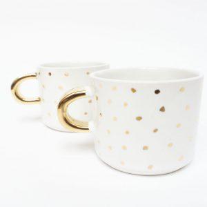 Filiżanka espresso w złote kropki i ze złotym uszkiem, 100% handmade