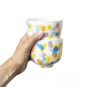 Ceramiczna, kolorowa czarka do kawy lub herbaty ręcznie malowana